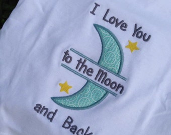 I Love you to the Moon and Back Embroidered T-shirt