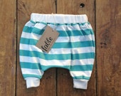 Organic Cotton Striped Slouch Pants - Turquoise on Cream
