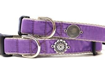 "1"" Adjustable Purple Orchid Velvet Dog Collar"