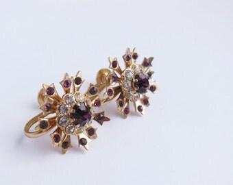 Vintage Coro Purple Star Rhinestone Earrings