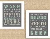 Bathroom Print Set with Germs & Jesus and Brush your teeth // 8 x 10 - Can do any color