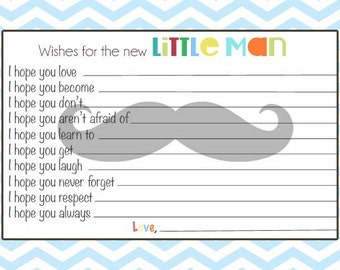 Boy Baby Shower Mustache Advice Card, Wishes for the Baby, Digital File, Printable