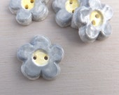 Grey buttons handmade ceramic flower flat back buttons grey and yellow