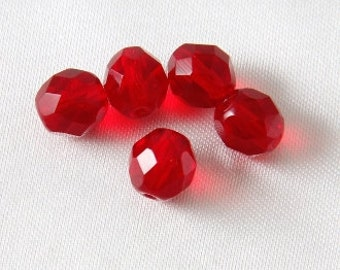 20 pcs - 8mm Czech Glass Faceted Round Fire Polished Crystals Siam Ruby