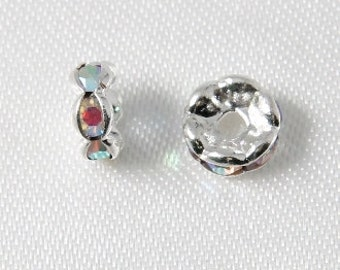 10 pcs - 6mm Rhinestone Rondelles Silver With Crystal AB