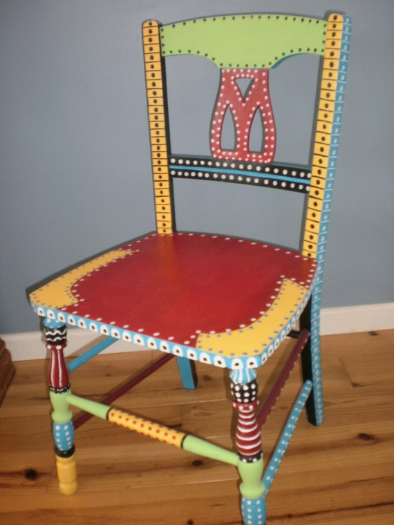 Items Similar To Hand Painted Whimsical Chair Gypsy Folk Art Vintage Wood Chair Painted
