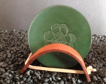 Green Leather Coaster Set With A Vintage Shamrock Design