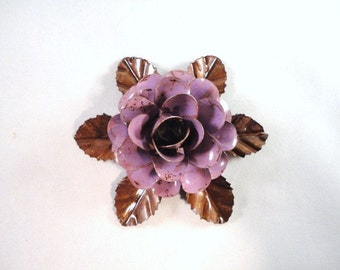 Medium Size Decorative Metal Hand Cut and Hand Painted Rustic Lavender Rose Mounted on a Bed of Metal Leaves.