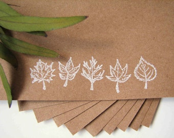 fall stationery, hand stamped stationery, leaves stationery set of 10, recycled stationery