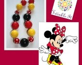 Classic Minnie Mouse Chunky beaded Necklace