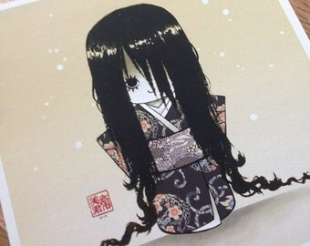 Okiku chan - 8x8 Limited edition giclee print - Ghost story from Japanese folklore - drawing of a creepy kokeshi doll - Halloween art 36/50