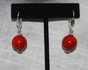 Red Bead Earrings Dangling Acrylic Beads
