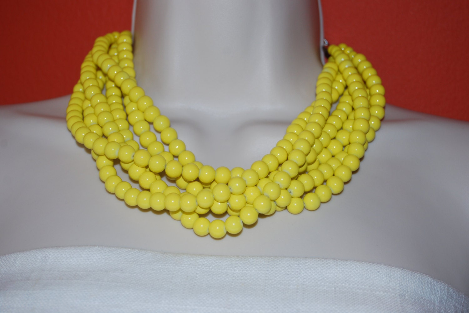 Yellow Statement Necklace Chunky Yellow Beaded By Icervoni