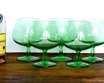 Green brandy balloons, set of five