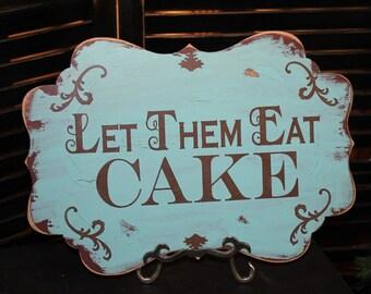 Let Them Eat CAKE Sign//Photo Prop/Damask Fleur/U Choose Colors/Great Shower Gift/Brown/Light Aqua