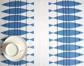 Linen tablecloth white blue abstract fishes Eco Friendly , also table runner , tea towel , curtains available ,eco GIFT