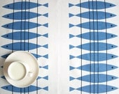 Linen tablecloth white blue abstract fishes Eco Friendly , also table runner , tea towel , curtains available ,eco GIFT - Dreamzzzzz