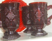 Take 40% Off, Avon Cape Cod Coffee Mugs, Set of FOUR  Serving, Collectible, Ruby Red, Cape Cod, Mugs,