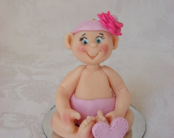 Personalized Baby Girl Shower, Birthday Cake Topper, Childrens Polymer Clay Christmas Ornament, Figurine.  Handcrafted Art Sculpture