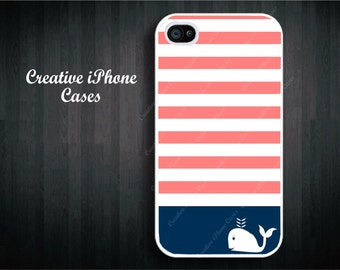 Stripes with Cute Whale for iPhone 4/4s, iPhone 5/5s/5c, iPhone 6 or 6 plus, iPod Touch 4 or 5, Samsung Galaxy s3/s4/s5