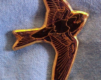Purple Martin, Hand Painted Pin, Gold Plated, Lead Free Pewter