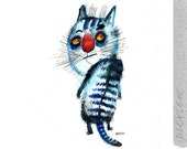 The skeptical blue cat, original painting by ozozo