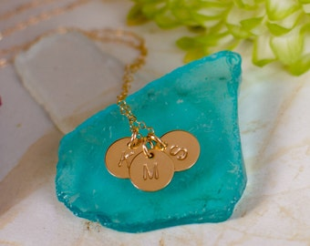 Three Initial Necklace - Dainty Gold Filled Initials of your choice on Gold Filled Chain, 3 Initial Necklace, 3 Disc Necklace, Mom Necklace