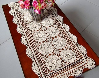 "Crochet  Table runner  45X160CM (16x62"") OB,3D flowers, NO.266"