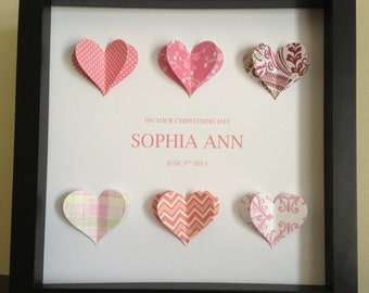 Personalized Gift, 3D Paper Hearts, gift for wedding, anniversary, baptism, christening, confirmation or first communion