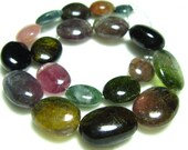 "Tourmaline Smooth Nuggets- 7"" Strand -Stones measure- 6-13mm"
