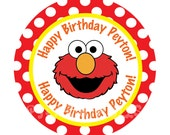 Elmo Polka dot Cupcake Toppers- Customized Digital File
