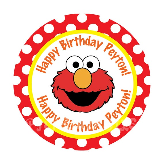 Elmo Polka Dot Cupcake Toppers Customized Digital File By PJ