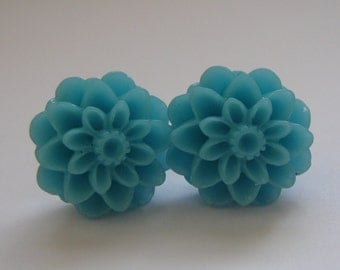 SALE Blue Dahlia Earrings