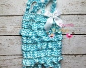 Sale Light Turquoise chevron romper, light blue chevron, 2nd birthday, 18 month outfit,  photo prop