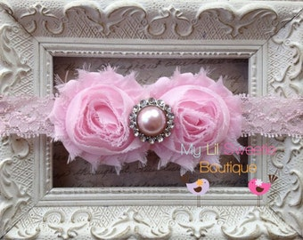 Light Pink Double Flower Shabby Chiffon Lace Headband with Pearl Rhinestone Center - Baby Girl Headband -