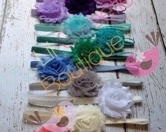 Pick 1 Sparkly headband, single flower shabby headband, everyday headband,