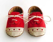 Baby Girl Shoes Red Canvas with Brogued Leather Soft Sole Shoes Oxford Wingtips Wing tips