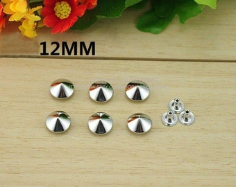 100pcs 12mm Silver CONICAL Rapid Rivet Studs For Punk Bag Shoes and Cloth DIY Accessories,Cellpone accessories
