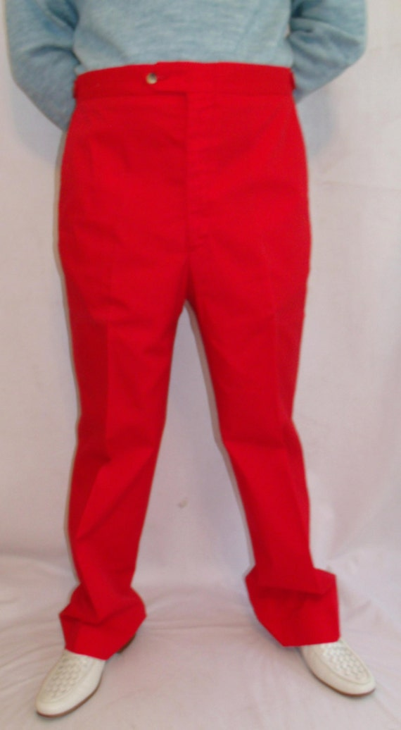 Vintage Men's 60s Preppy Bright Red Dress Pants 38 x