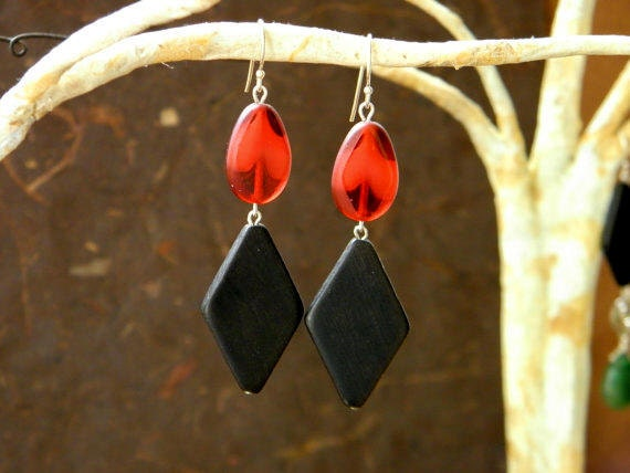 Bold Geometric Red and Black Dangle Earrings
