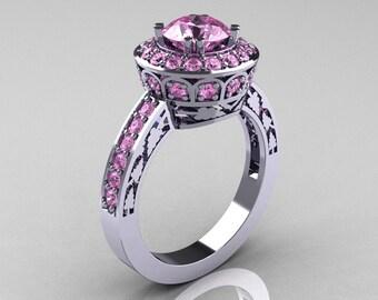 10K White Gold 1.0 Carat Light Pink Sapphire Wedding Ring, Engagement Ring R199-10KWGLPS