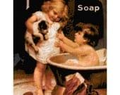 Handmade Vintage Pears Soap Ad of Children With Dog PDF Cross-Stitch Pattern