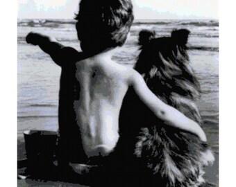 Photo of Boy on Beach with His Dog PDF Cross Stitch Pattern