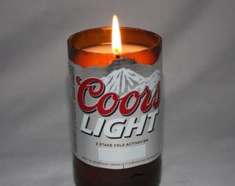 Recycled Beer Bottle Candle from Coor Beer Bottle, Coors Light Bottle Candle, Beer Candle, Citronella Candle, Custom Scent