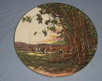 "Royal Doulton Plate D.6307. ""Timber Wagon"""