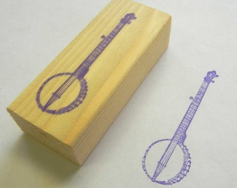 Musical Instrument Rubber Stamp Old Time Banjo