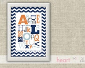 alphabet chevron nursery wall art - (navy blue, orange, gray) - printed copy - 8.5x11