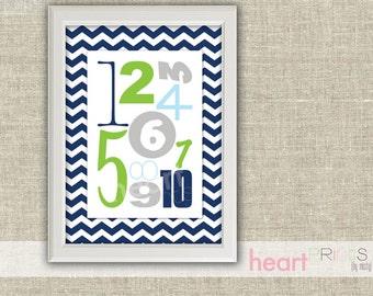 number chevron nursery wall art - (navy blue, green, gray) printed copy - 8.5x11