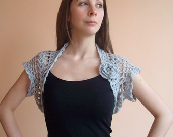 Grey Wedding Shrug Bolero ,Crochet Lace Bridal Shrug Bolero,Sleeveless,Size S/M,READY TO SHIP