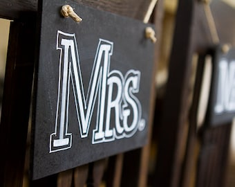 Mr and Mrs Chalkboard Chair Signs, Mr Mrs Prop Signs, Vintage Wedding Sign, Chalkboard Wedding Signs, Chalk Signs, DIY Wedding Signs
